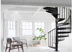 China Prefabricated metal spiral stairs carbon steel stinger stairs space saving stairs on sale