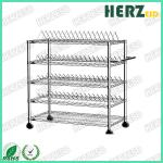 Movable ESD Storage Shelves Single / Double Peak Wire Structure With Caster / Handle