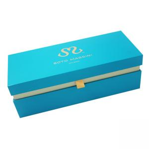 China Exquisite Blue Cardboard Food Boxes , Single Wine Bottle Shipping Box on sale