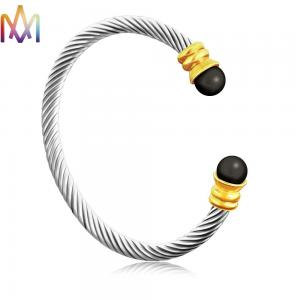 China Twisted Cable Inspired Stainless Steel Cuff Bracelets 16g on sale
