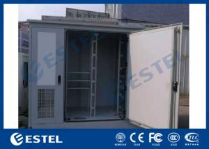 China Three Bay Racking Outdoor Telecom Base Station Cabinet White Color Three Doors Air Conditioner Cooling on sale