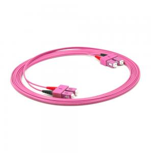 China OM4 Multimode SC-SC Duplex Fiber Patch Cable 2.0mm PVC/OFNR 10m 15m Low Insertion Loss on sale