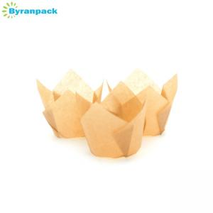 China Bottom 50mm Greaseproof Cupcake Cases / Fancy Tulip Paper Cupcake Liners on sale