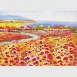 Palette Knife Poppy Oil Painting Colorful Red Floral Canvas Painting for Home Decor