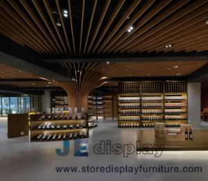 China Grand Wine cellar  interior design by Walnut wooden storage cabinets and Millwork wall panel for Villa Leisure furniture on sale