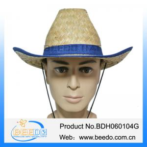 China Natural 100% kwai straw wide brim cowboy hat with grosgrain ribbon for men on sale