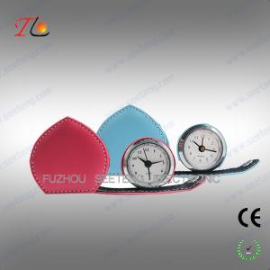 China Mini folding heart shape leather travel clock alarming clock suitable for young ladies on sale
