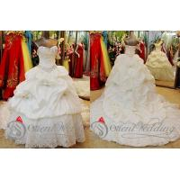 China Spring Satin Beaded Court Train Sweetheart Wedding Gowns with Pickups Ruffles on sale