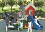 Functional high quality PE made  out door playground with horse ride and slide