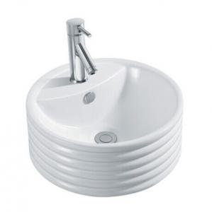 China Round Ceramic Sinks Sanitary Ware Above Counter Mounting Art Basin Bathroom Wash Basin on sale