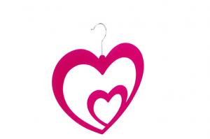 China ABS plastic hot pink  flocked Double love scarf hanger non-slip space saver colorfast on sale