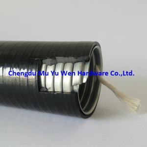 China 1/2 liquid tight galvanized steel flexible conduit with flame resistance black and smooth PVC covering on sale