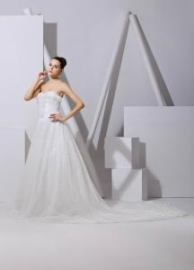 China Romantic Korean chapel train bridal Strapless Wedding Gowns plus size , ivory on sale