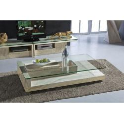 China Modern Travertine Stone Coffee Table Rectangle Glass Center Table For  Living Room For Sale Part