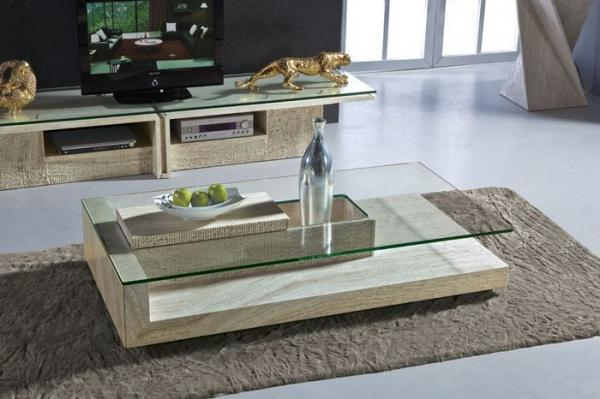 Modern travertine stone coffee table rectangle glass - Glass centre table for living room ...