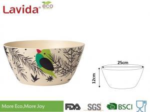 China Reusable Birds Pattern Bamboo Fiber Bowls , Round Shape Large Melamine Salad Bowl on sale