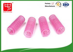 China Diameter 22mm lovely pink hook and loop Hair Rollers hook and loop with plastic core on sale