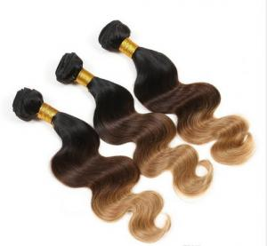 China Stock Black / Yellow Ombre Virgin Hair Weave Body Wave for Women on sale
