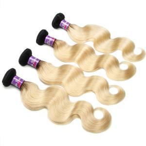 China 1b 613 two tone hair ombre hair weaves dark root blonde weave virgin brazilian  hair weft supplier