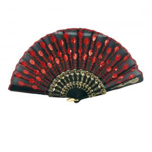 China Red Peacock Feather Embroidered Hand Fan on sale