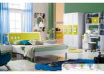 Green Color E1 MDF Board Childrens Bedroom Sets With 1.2 Meters Bed
