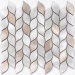 Acid - Resistant Leaf Marble Square Ceramic Mosaic Tile For Bathroom / Kitchen