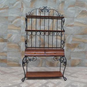 China Muebles del arte del hierro modificados para requisitos particulares para el diseño americano del pueblo los estantes de exhibición con los cajones de madera on sale