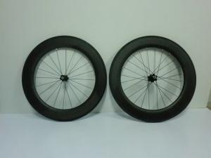 Quality 700C 86mm Carbon Clincher Wheelset Tubular Bike Wheels of 20 - 24 Holes for sale