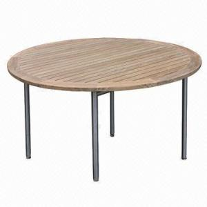 China Garden Wood Table, Round Shape with #304 Stainless Steel Frame, Teak, Outdoor Patio on sale