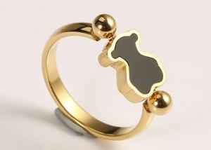 China Simple Style Stainless Steel Jewelry Rings Solid Gold Plated Lovely For Gift on sale