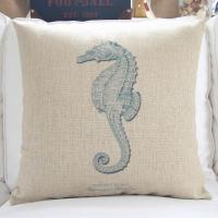 Ocean beach theme sea horse hippocampus cushion,coral starfish print cushion cover