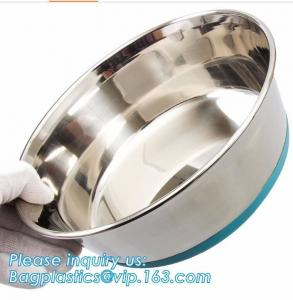 China Premium Colorful Dog Water Food Bowl, Dog Food Bowls Pet Feeder Bowls with Mat, Bamboo fiber durable dog feeding covered on sale