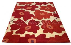 quality acrylic handtufted modern flower floor carpet rugs orange blue pink