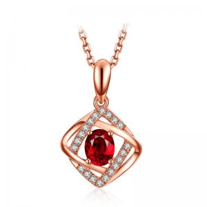 China Oval Gemstone Jewelry In 18kt Gold With Natural Diamond Pendant Necklace on sale