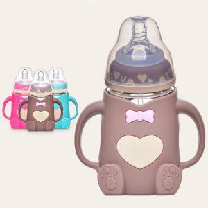 China bear shape high quality BFA free nature glass baby feeding bottle with silicone sleeve on sale