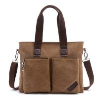 Business Retro Male Laptop Oblique Cross Shoulder Bag With 2 Front Pockets
