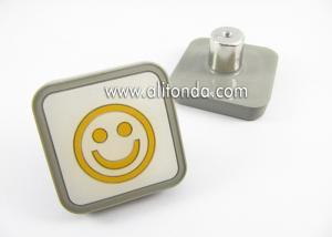 China PVC cartoon smiling face sun image square shape room handle children drawer knobs custom on sale