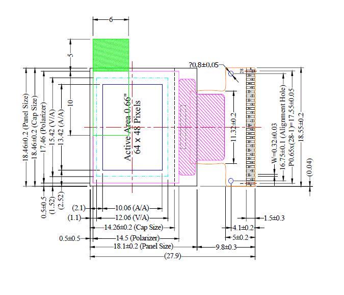 0 66inch 64 X 48Dots PMOLED Display Monochorme Blue OLED OHEM6448-05