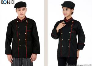 China Professional Double Breasted Chef Jacket Black Long Sleeve For Men on sale