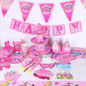 China My Little Pony Baby Shower Childrens Disposable Party Tableware Sets on sale