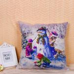 Fancy Snowman Pillow Cushion Covers Recycled Cotton Linen Material 45 * 45 Cm