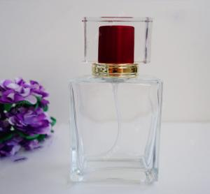 China CLear Square Glass Perfume Bottles With Childproof Cap 50ml Volume on sale