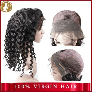 China Unprocessed Water Wave Cuticle Aligned Virgin Human Hair Full Lace Wig With Baby Hair on sale
