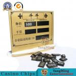 Acrylic Golden Transparent NiuNiu Gambling Poker Game Limited Red Card Entertainment Chip Table Manual Digital Sign