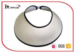 China Womens Paper White Straw Wide Brim Sun Visor Hat Black Bound Edge on sale