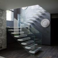 hot selling from Housing floating glass stairs/wood tread staircase