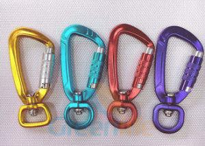 China High Security Aluminum Snap Hook Carabiner With Eyelet Multi Colours Loaded 400KG on sale