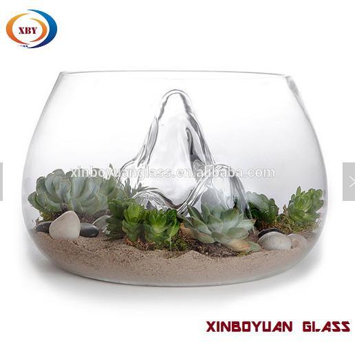 Clear Desktop Round Glass Vases Fish Bowl Glass Terrarium For Plant