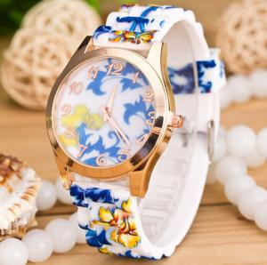 China 3 ATM Flower Silicone Rubber Watches , Women Japan Movt Quartz Watch on sale