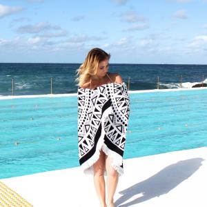 China 2018 hot sale 100% cotton terry velour round beach towels with tassels on sale